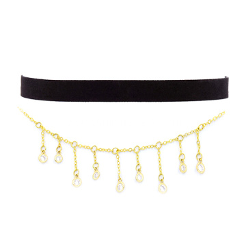 Black Velvet Choker Rhinestone Gold Chain Necklace For Women